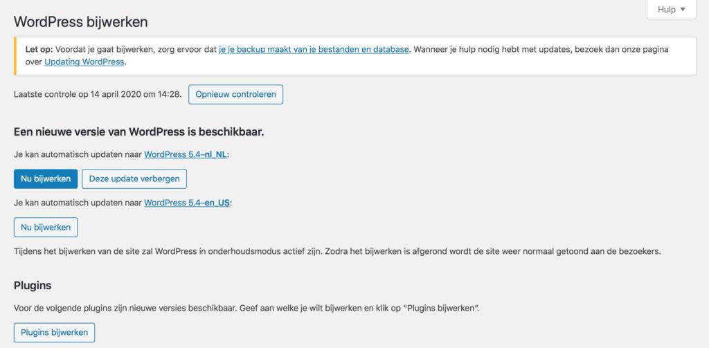 WordPress Updaten   WordPress website beveiligen tegen hackers